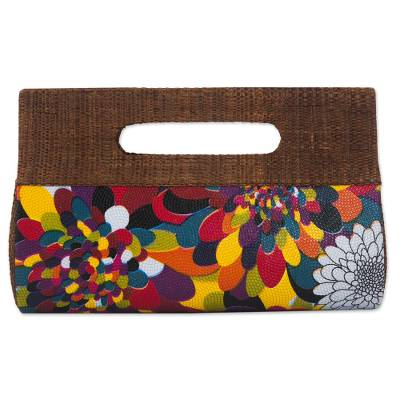 Palm leaf handbag, 'Psychedelic Jungle' - Colorful Handcrafted Palm Leaf Handbag from Brazil