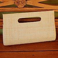 Palm leaf handbag, 'Cabana Sunshine' - Handwoven Palm Leaf Handle Handbag from Brazil