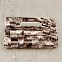Palm leaf clutch, 'Striped Canopy' - Striped Beige and Brown Palm Leaf Clutch from Brazil