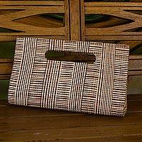 Palm leaf clutch, 'Canopy Thatch' - Handcrafted Striped Palm Leaf Handled Clutch from Brazil