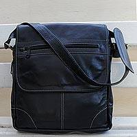 Leather messenger bag, 'Casual Traveler' - Handcrafted Leather Messenger Bag in Black from Brazil