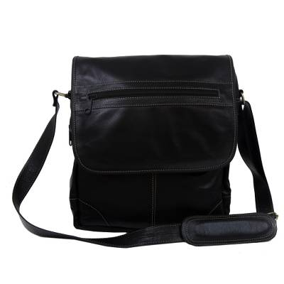 Handcrafted Leather Messenger Bag in Black from Brazil