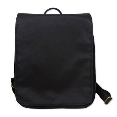 Handcrafted Black Leather Backpack with a Flap from Brazil