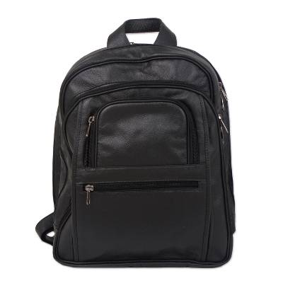 Handcrafted Leather Backpack in Black from Brazil