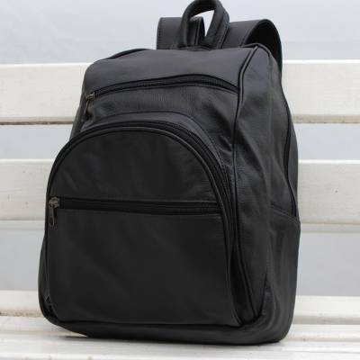 Leather backpack, 'Sophisticated Traveler' - Adjustable Leather Backpack in Black from Brazil