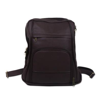 Handcrafted Leather Backpack in Chestnut from Brazil