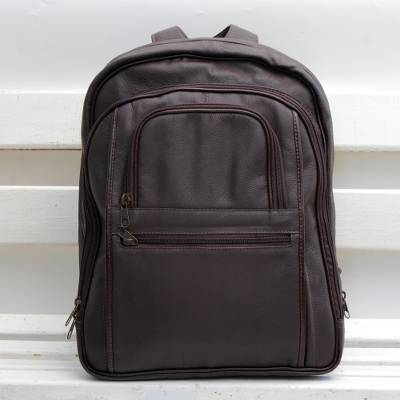 Leather backpack, 'Studious Traveler in Brown' - Handcrafted Leather Backpack in Mahogany from Barzil