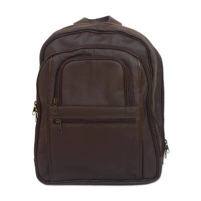 Handcrafted Leather Backpack in Mahogany from Barzil