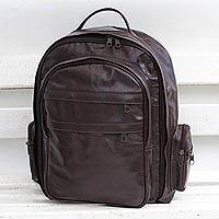 Leather backpack, 'Love for Travel' - Handcrafted Leather Backpack in Mahogany from Brazil