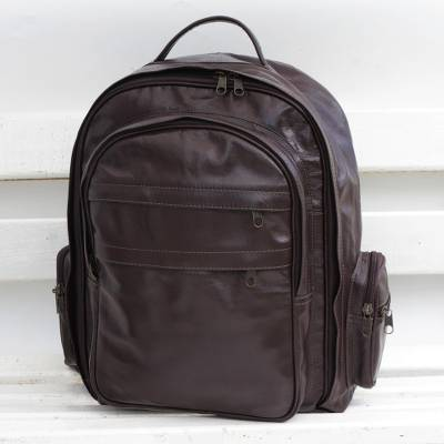 Leather backpack, 'Love for Travel' - Handcrafted Leather Backpack in Chocolate from Brazil