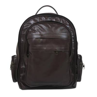 Handcrafted Leather Backpack in Chocolate from Brazil