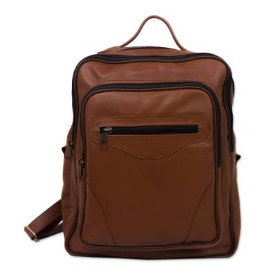 Handcrafted Leather Backpack in Rust from Brazil