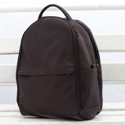 Leather backpack, 'Simple Traveler' - Simple Leather Backpack in Chocolate from Brazil