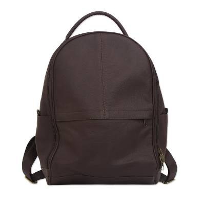 Simple Leather Backpack in Chocolate from Brazil