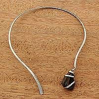 Tiger's eye collar necklace, 'Earth's Magnitude' - Tiger's Eye Minimalist Collar Necklace from Brazil