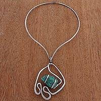 Amazonite pendant necklace, 'Aqua Duchess' - Amazonite Pendant Collar Necklace from Brazil