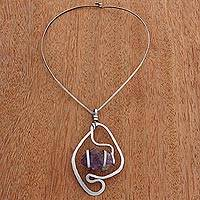 Amethyst pendant necklace, 'Crystalline Magic' - Amethyst Pendant Collar Necklace form Brazil