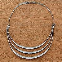 Stainless steel pendant choker, 'Ribbon Trio' - Stainless Steel Pendant Collar Necklace from Brazil