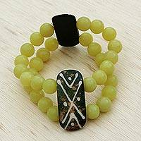 Jade beaded stretch bracelet, 'Yellow Tribe' - Yellow Jade and Ceramic Beaded Stretch Bracelet from Brazil