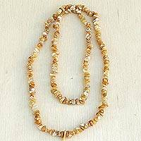 Calcite long beaded necklace, 'Sunny Beach' - Long Yellow Calcite Beaded Necklace from Brazil