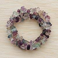 Fluorite beaded stretch bracelets, 'Translucid Beauty' (set of 3) - Three Fluorite Beaded Stretch Bracelets from Brazil