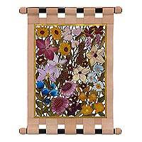Leather wall hanging, 'Vibrant Floral Garden' - Handcrafted Signed Leather Floral Wall Hanging from Brazil