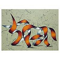 'Orange Bull' - Signed Surreal Painting of a Bull Made from Ribbons