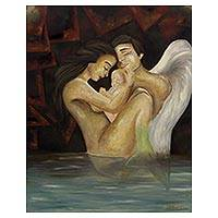'Birth' - Romantic Fantasy Oil Portrait of a Mermaid and Angel Family