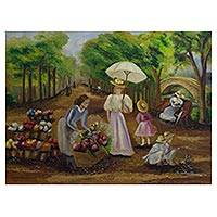 'Flower Vendor' - Romantic Impressionist Painting of a Park in Olden Days