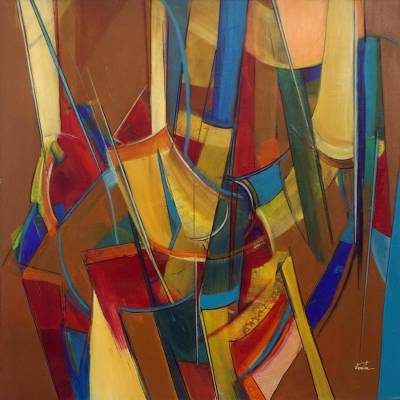 Joy Modern Abstract Painting In Bright Colors From Brazil