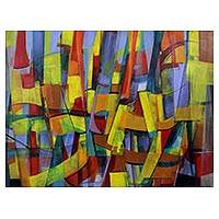 'Prismatic' - Modern Abstract Painting in Acrylics from Brazil