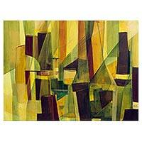 'Illuminated City I' - Signed Original Yellow Abstract Painting from Brazil