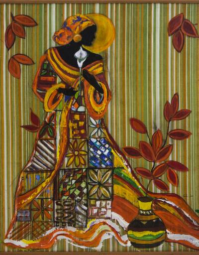 Signed Freestyle Painting Of An African Woman From Brazil Graceful