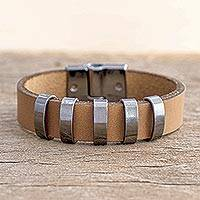 Men's leather wristband bracelet, 'Spatial Shine in Brown' - Men's Brown Leather Bracelet with Metal Accents from Brazil
