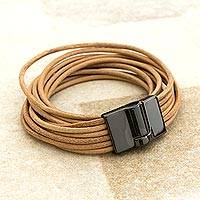 Leather wrap bracelet, 'Rio Fashion' - Handcrafted Leather Cord Beige Wrap Bracelet from Brazil