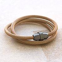 Leather wrap bracelet, 'Daytime Flight' - Handcrafted Beige Leather Wrap Bracelet from Brazil