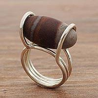 Jasper cocktail ring, 'Earth Egg' - Jasper and 925 Silver Minimalist Cocktail Ring from Brazil