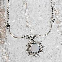 Opal pendant necklace, 'Sun Rays' - Handcrafted Opal Sun-Themed Pendant Necklace from Brazil