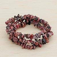 Rhodonite beaded stretch bracelets, 'Naturally Enchanting' (set of 3) - Three Rhodonite Beaded Stretch Bracelets from Brazil