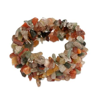 Quartz and Calcite Beaded Stretch Bracelet from Brazil