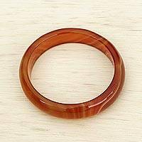 Agate bangle bracelet, 'Caramel Ring' - Orange Agate Gemstone Bangle Bracelet from Brazil