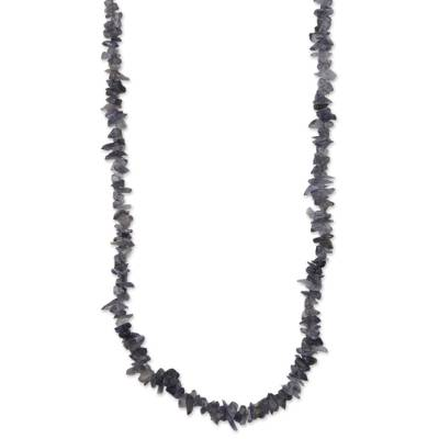 Natural Iolite Beaded Necklace Artisan Crafted in Brazil