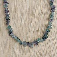 Fluorite beaded necklace, 'Blue-Green Infatuation' - Artisan Crafted Beaded Fluorite Necklace from Brazil Jewelry