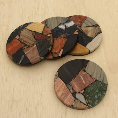 Gemstone coasters, 'Pieces of Earth' (set of 4) - Set of Four Circular Gemstone Coasters from Brazil