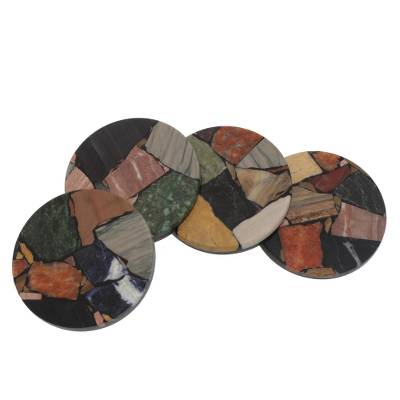 Set of Four Circular Gemstone Coasters from Brazil