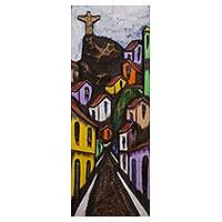 Cedar wood wall art, 'Christ in the Favela' - Signed Cedar Wood Naif Painting of Christ the Redeemer