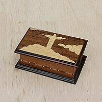 Wood marquetry decorative box, 'Memory of Rio' - Handcrafted Wood Marquetry Box from Brazil