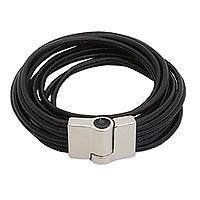 Leather wristband bracelet, 'Lunar Rotations' - Modern Black Leather Wristband Bracelet from Brazil