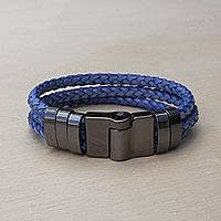 Leather wristband bracelet, 'Steel Blue Trance' - Steel Blue Braided Leather Wristband Bracelet from Brazil