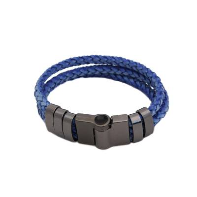 Leather wristband bracelet, 'Steel Blue Trance' - Steel Blue Braided Leather Wristband Bracelet from Brazil
